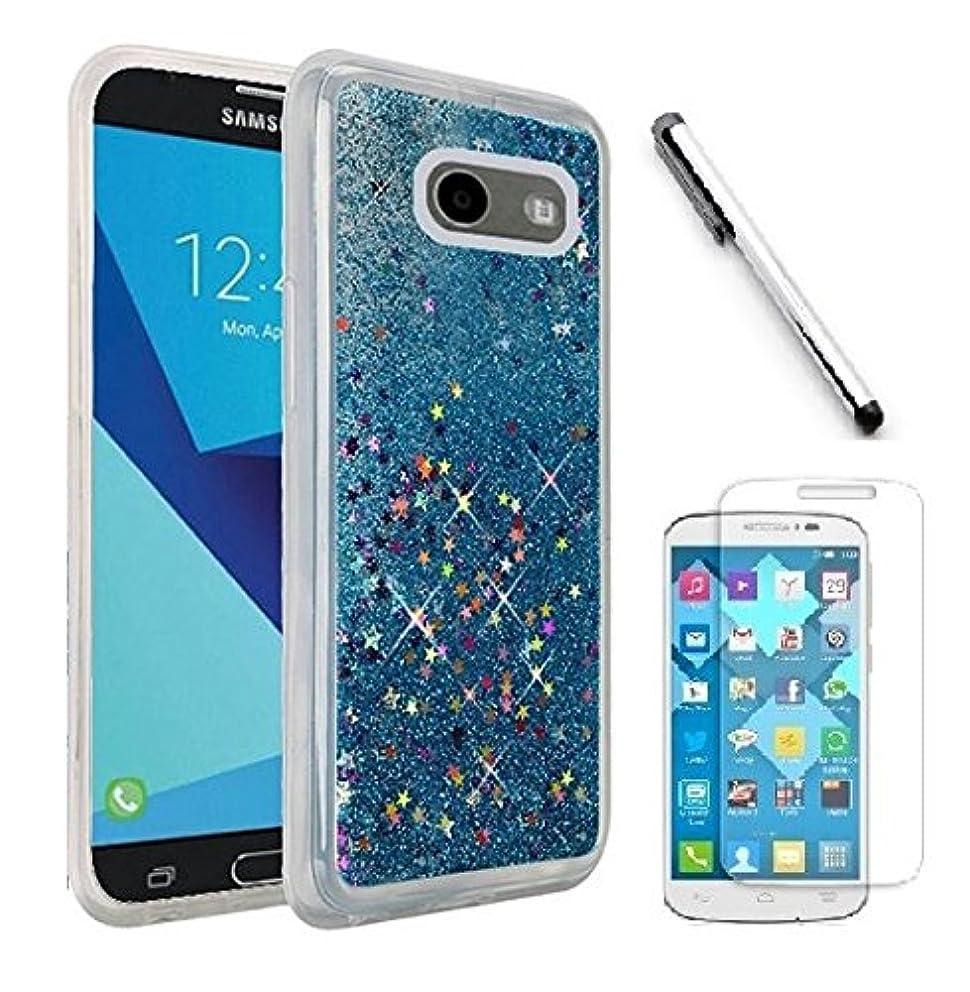 Luckiefind Compatible with Galaxy J7 Perx/Galaxy J7 Prime/Galaxy Halo/Galaxy J7 V/J7 Sky Pro, Hybrid Liquid Quicksand with Glitter Fused Hybrid Hard PC TPU Cover Case (Liquid Blue)