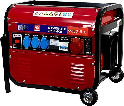 GERMAN FORCE GENERADOR ELECTRICO Gasolina 15L 4 ENCHUFES (1000W+1000W +1000W+2500W) TRIFASICO...