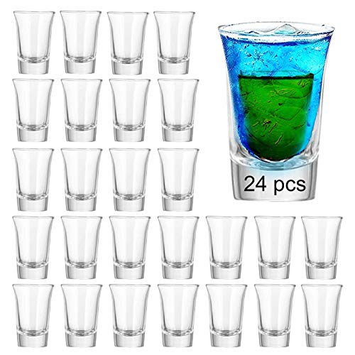 Farielyn-X Shot Glass Set with Heavy Base Bulk, 1.2 oz Clear Glasses for Whiskey and Liqueurs (24...