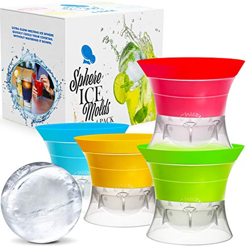 Sphere Ice Maker ball Molds - Large Clear Rubber reusable plastic opal Ice Mold Round Small Ice Cubes Drinks Silicone Tray Silicon Whiskey Ice Cube Trays Balls Makers With Lids - Great for Parties