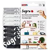 Sugru Mouldable Glue de tesa, adhesivo fuerte multiusos, envase de 8 (8 x 3,5 g) en Negro, Blanco y Gris