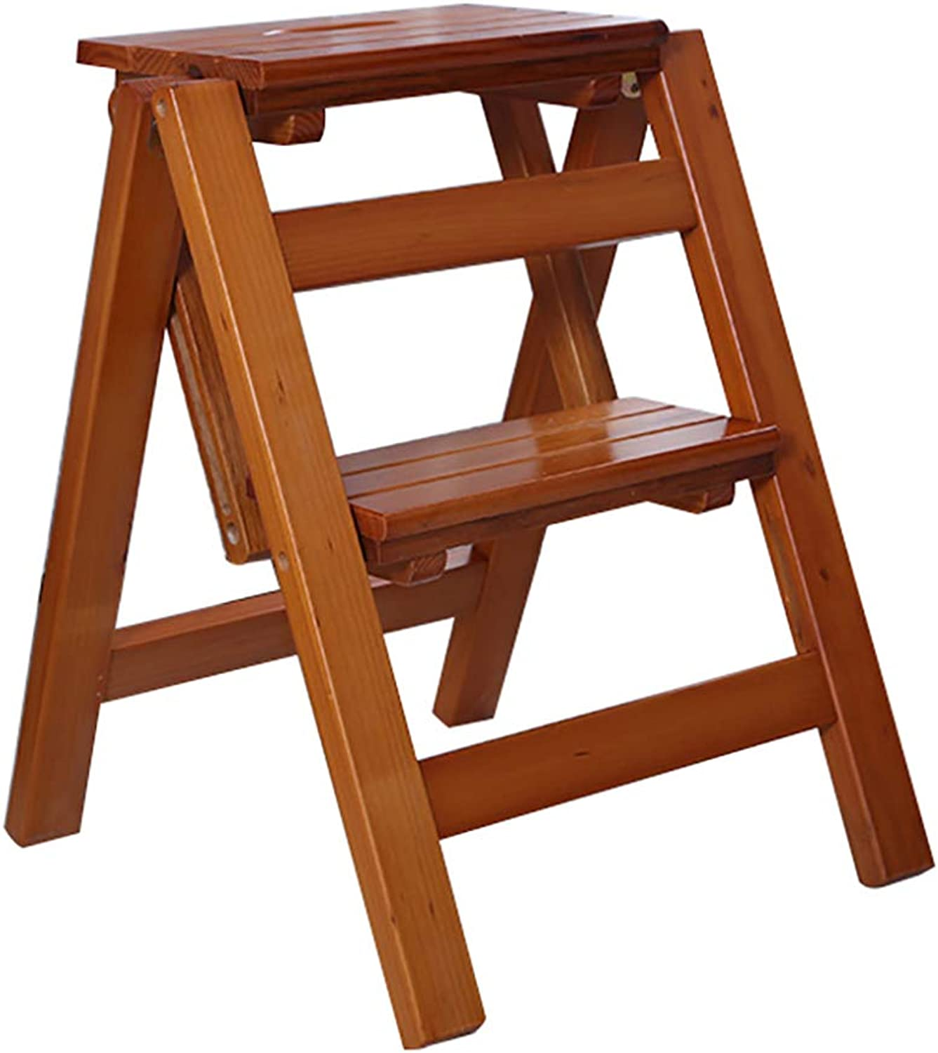 Solid Wood Step Stool 2 Step Ladder Flower Stand Folding Ladder Multifunction Indoor Household Ascend The Small Ladder (color   C)