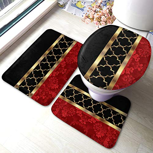 Meiya-Design Elegant Red, Black Gold Quatrefoil Pattern Bathroom Rug Mats Set 3 Piece - Soft Shower Bath Rugs - Contour Mat and Toilet Lid Cover - Perfect Combination of Luxury and Comfort