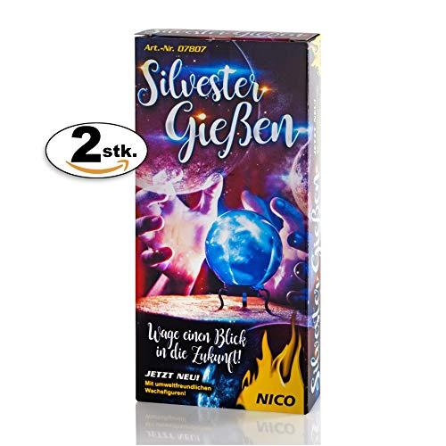 PartyMarty 3X Silvester Gießen bestehend aus 12 x Hohlfiguren, 2 x Löffel, als Silvester-Brauch Orakel Horoskop