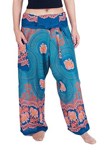 Lannaclothesdesign - Yoga-Hosen für Damen in Petrol Elefant Rose, Größe S-M