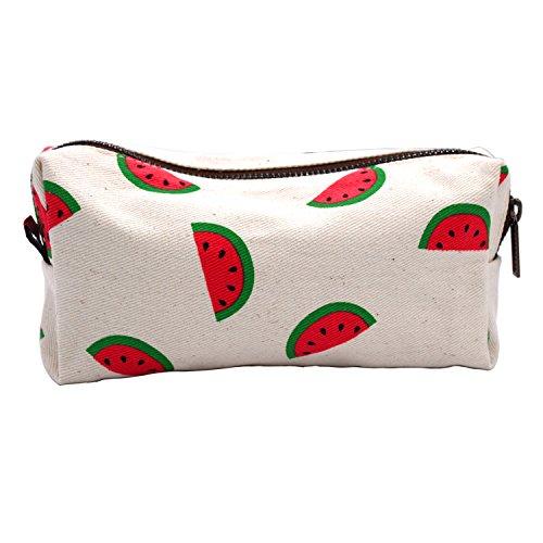 Watermelon Students Super Large Capacity Canvas Pencil Case Pen Bag Pouch Stationary Case Makeup Cosmetic Bag