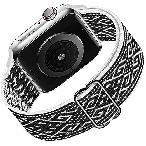 HILIMNY Solo Loop compatible con correa de reloj Apple 42mm 44mm, correa de repuesto deportiva de nailon elástico trenzado para IWatch Series 6/5/4/3/2/1/SE, Black White Pattern 42mm 44mm