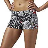 Reebok Damen Yoga Graffiti Collab Hot Shorts, Coal, 2XS