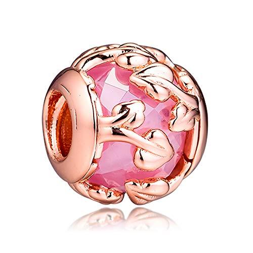 COOLTASTE 2019 Jesień Różowe Dekoracyjne liście Perła 925 Srebro DIY pasuje do oryginalnych bransoletek Pandora Charm Modna biżuteria