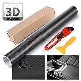 O-Kinee Fibra de Carbono Envoltura Adhesiva para Coche Pegatinas de Vinilo Rollo Libre de Burbujas de Coche Calcomanías Accesorios del Automóvil Calcomanías de Bricolaje Automotriz (3D)