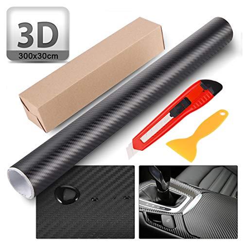 O-Kinee Pellicola Auto in Vinile Fibra di Carbonio Avvolgente Moto,Involucro per Foglio di Carbonio Impermeabile DIY Adesivo Decorativo Adesivi per Accessori per Lo Styling dell'auto (3D)
