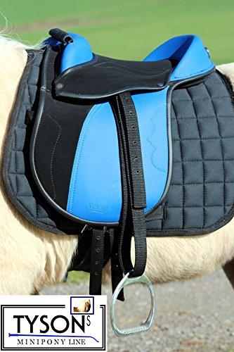 Ponysattel Sattel Minishetty Shetty Mini Pony Pink Schwarz oder Blau 10 12 Zoll incl Zubehör Sattelset SET Tysons auch f. Holzpferd geeignet (10 Zoll, Blau / Schwarz)