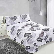 Dalina Textil Juego de Sábanas para Cama 3 Piezas - 1 Sábanas Bajera Ajustable Cama 150cm con Encimera 230x260cm y 1 Funda de Almohada Larga ( Cama de 150x190-200cm Estampado 9)