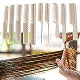 Peine de peluquería de 10 piezas, peine de corte de peluquería profesional para uso en salones para mujeres y hombres con escala de medida(10 piezas de peine para el cabello)