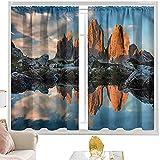Cortinas opacas con bolsillo para barra, paisaje, Alpes italianos, europeos, 100 x 200 cm, cortina de oscurecimiento para habitación de niños