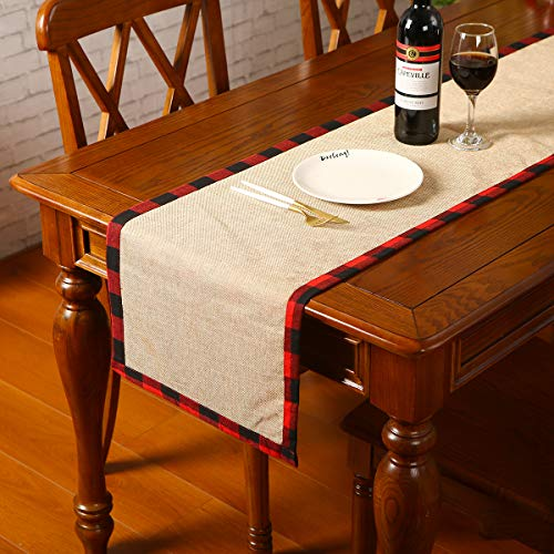 Xmas Decor Table Runner Cotton Burlap Buffalo Plaid, Christmas Reversible Red and Black Checkered Table Runners for Holiday Christmas Table Decorations, 14 x 72 Inch (14 x 72 Inch)
