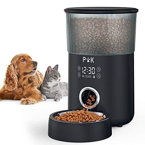 PUPPY KITTY Comedero automático, comedero Temporizador de 4L para Perros y Gatos, con Tono de dispensación Personalizado, Control de porciones, 1-5 Comidas, Cuenco de Acero Inoxidable. (Negro)