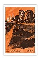 アリゾナ州モニュメントバレー - 砂岩ビュート - TWA (トランス・ワールド航空) - ビンテージ旅行ポスター によって作成された デイヴィッド・クライン c.1968 - プレミアム290gsmジークレーアートプリント - 61cm x 91cm