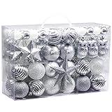 Victor's Workshop 100Pcs Bolas de Navidad Set, Adornos de Navidad para Arbol, Decoración de Bolas Navideños Inastillable Plástico de Plata Blanco, Regalos de Colgantes de Navidad (Invierno Congelada)