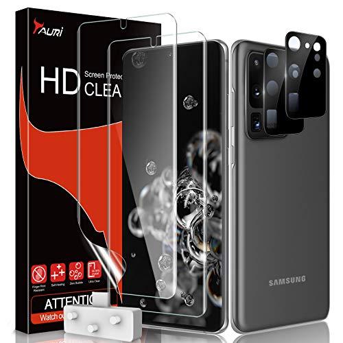 TAURI 4 Pack Protector Pantalla Compatible con Samsung Galaxy S20 Ultra (6.8 Pulgadas),Contiene 2 Pack Protector de Pantalla y 2 Pack Cámara Cristal Vidrio Templado, Doble Protección
