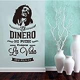 fancjj Etiqueta de la Pared española Bob Marley Vinilo Arte de la Pared Wallpaper Wallpaper Mural salón decoración del hogar decoración de la casa 40X76CM