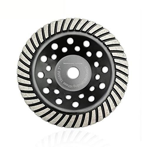 SHDIATOOL 7 Inch Turbo Row Diamond Grinding Cup Wheel for Concrete Granite Marble Masonry Brick Fits 7/8 Inch Arbor