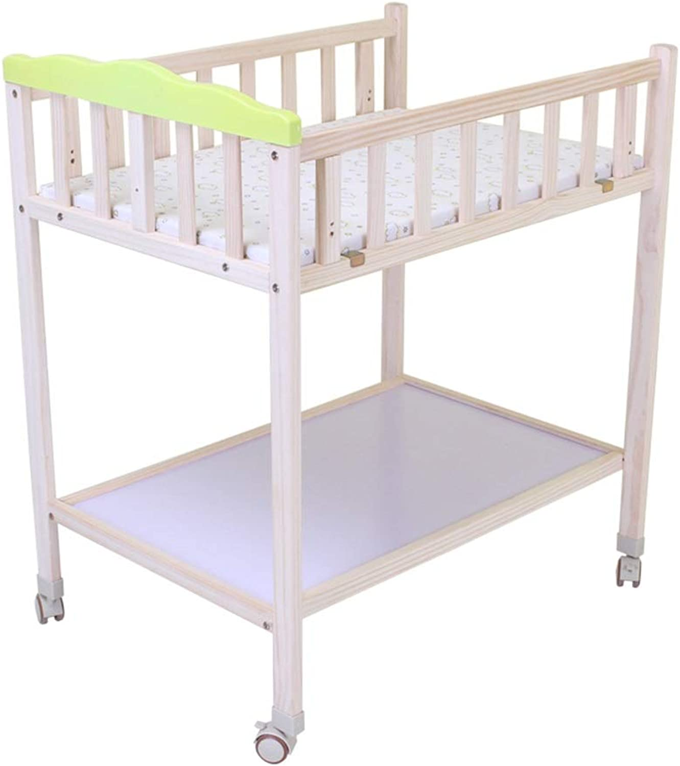 HANSHAN Changing Table Changing Table,Wood Nursing Desk Massage Table Crib Bathing Table Shelf Multi-Functional Storage 0-18 Month 32 × 24 × 37 Inch