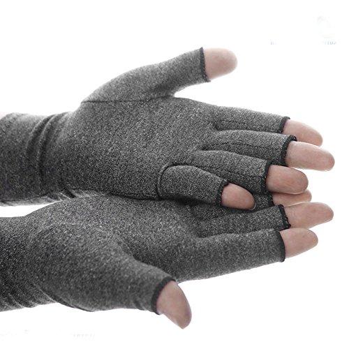 2Pairs Arthritis Compression Gloves Women Ladies Doctor Written Handbook Relieve Arthritis Symptoms Raynauds Disease Carpal Tunnel (Grey, S)