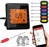Meat Thermometer for Grilling, Bluetooth Meat Thermometer for Cooking with 6 Probes 2 Metal Rack and Super Large LCD Screen Wireless Cooking Thermometer for Grilling Oven BBQ Smoker Candy Kitchen