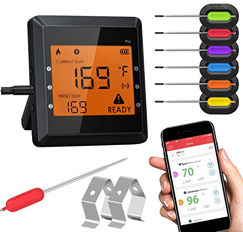 Meat Thermometer for Grilling, Bluetooth Meat Thermometer for Cooking with 6 Probes 2 Metal Rack and Super Large LCD Screen Wireless Cooking...