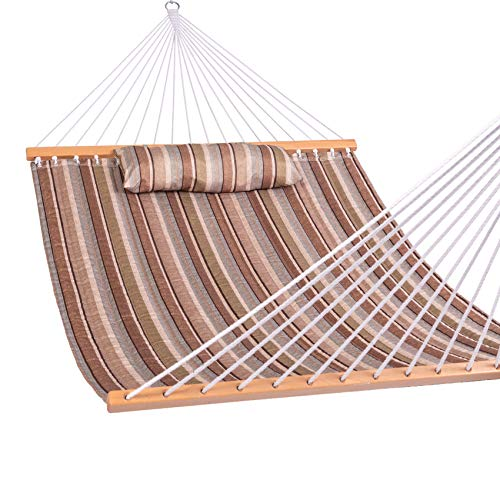 Lazy Daze Hammocks Quilted Fabric Double Hammock with Spreader Bars and Detachable Pillow, 2 Person Hammock for Outdoor Patio Backyard Poolside, 450 LBS Weight Capacity, Olive Green Taupe Stripes