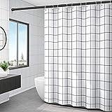 Duschvorhang Polyester Waschbar Parkarma 180*200cm Duschvorhang Polyester Waschbar mit 12 Duschvorhängeringen für Badezimmer