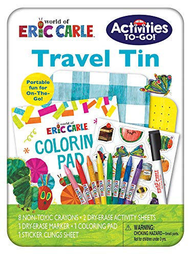 Eric Carle | Activities To-Go Travel Tin | Art Set | Includes 8 Crayons, 2 Dry Erase Activities with 1 Dry Erase Marker, 1 Coloring Pad, and 1 Sheet of Repositionable Sticker Clings