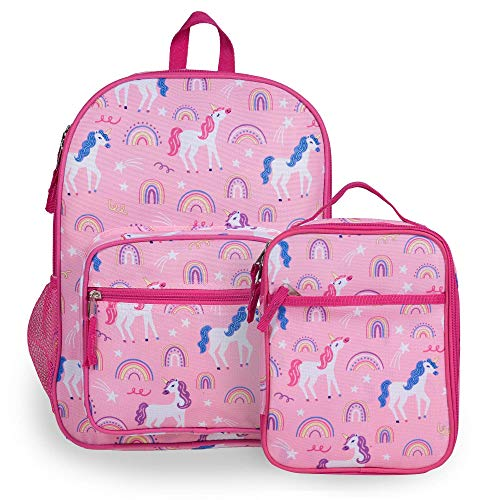 Wildkin Kids Everyday Backpack with Lunch Box Bag Bundle for Boys & Girls, Perfect for Packing School Supplies & Your Favorite Snack, Ideal for School & Travel, BPA-Free, Olive Kids (Rainbow Unicorns)