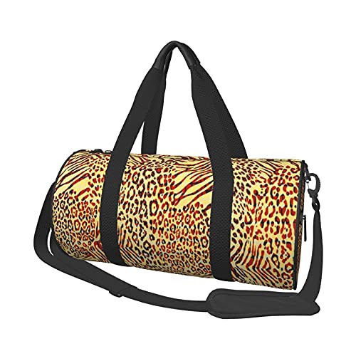 Borsone da palestra con stampa pelle di leopardo gialla bella per le borse da viaggio da viaggio per donna e uomo in tela carino