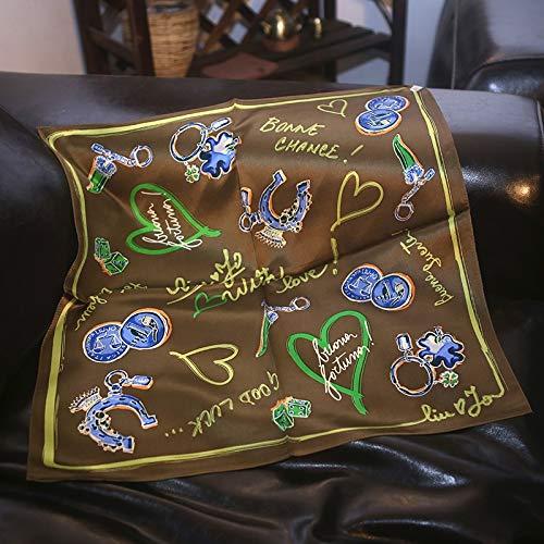 Chensd Schal, weich, luftdurchlässig, Satin, klein, quadratisch, Geschenk, grün, 55cm*55cm