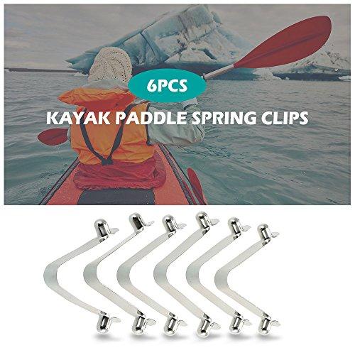 Flytise 6pcs Kayak Paddle Spring Clips Tent Pole Clips Botón pulsador Spring Snap Clip Locking Tube Pin