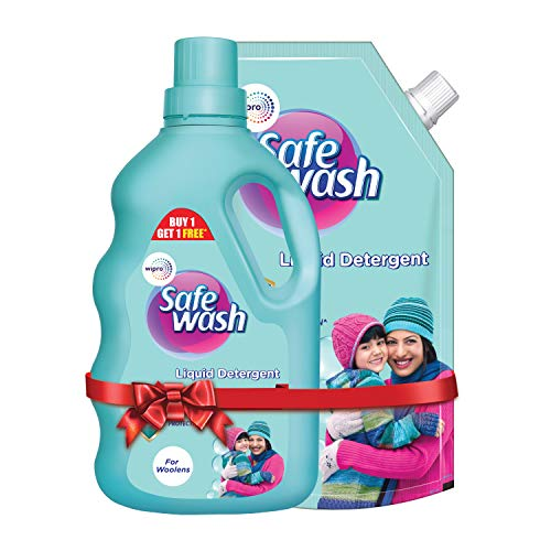 Safewash Woolen Liquid Detergent by Wipro, 1L Bottle + 1L Pouch Free