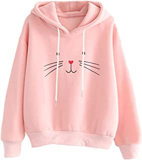 NREALY New Women's Hoodie Autumn Long Sleeve Cat Printing Hooded Sweatshirt Blouse Tops T Shirt