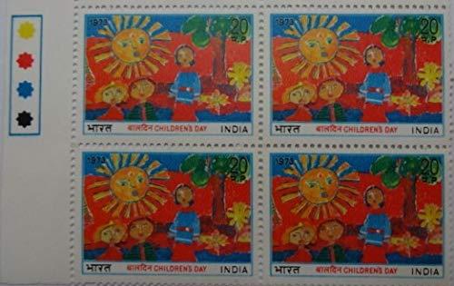 Sams Shopping Kinderdag. Kinderdag, schilderijen, zon, bloemen, boom, kinderen, tuin, kinderen in het spel, 20 P. (Blokje van 4 met verkeerslicht) stempel