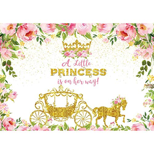 Allenjoy 7x5ft Little Princess Girls Backdrop Cinderella Fairy Photograhy Background Gold Carriage Crown Floral Cake Table Decoration Baby Shower Birthday Party Supplies Banner Photo Booth Props