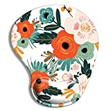 Pemlari Ergonomic Mouse Pad with Wrist Support Gel, Cute Wrist Pad with Non-Slip Rubber Base, Easy Typing & Pain Relief, Red Flowers