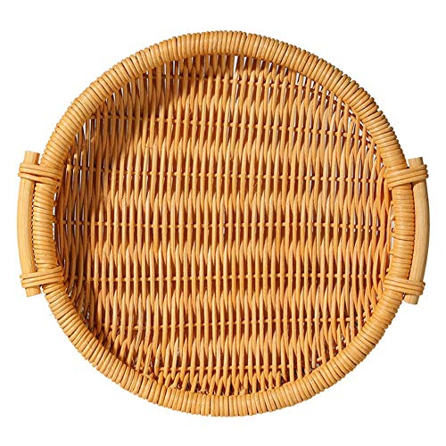 XIYAO Rattan Woven Tray with Handles for Serving Bread Friut Basket for Storage Natural