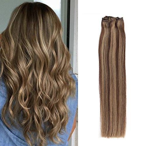 Komfami Remy Haarverlängerung Clip in Haarverlängerung Echthaar Echtes Haar 100 Gramm (45cm, No.4/27 Mittelbraun/Dunkelblond)