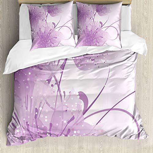 ABAKUHAUS Púrpura Funda Nórdica, Vector de Las Flores de Mariposa, Decorativo, 3 Piezas con 2 Funda de Almohada, 155 x 220 cm, Violeta y Negro