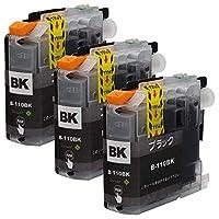 ブラザー用最優良互換インクカートリッジ LC110 (BK/ブラック)×3 3本セット 残量表示機能付 ICチップ対応 【Green Shower製】【安心一年パック】