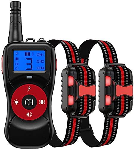LXNQG Collar de entrenamiento de perros de 2624 pies de largo alcance, collar de vibración recargable, impermeable para 2 perros, 4 tipos de entrenamiento, adecuado para perros pequeños, medianos y gr