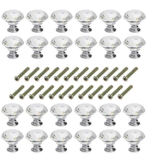 DishyKooker Cabinet Knobs Door Knobs Drawer Handles Crystal Knobs Clear Glass Diamond Shape Knobs with Screws for Home Kitchen Office Drawer Cupboard Chest Decorating (24 pcs)