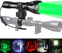 Odepro KL52Plus Zoomable Hunting Flashlight with Red Green White and IR850 Light LED Lamps Remote Pressure Switch Hunting Kit for Hog Coyote and Varmint Hunting, Gift Box Packaging