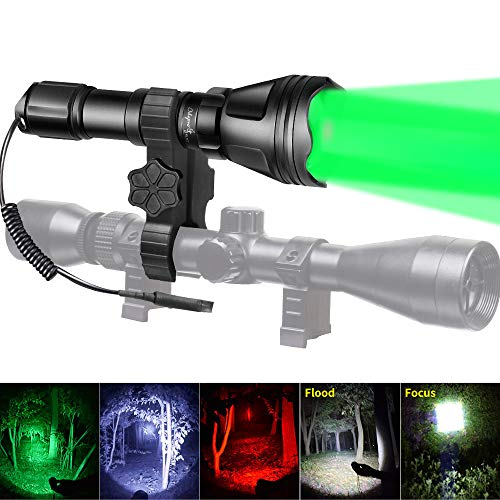 Odepro KL52Plus Zoomable Hunting Flashlight with Red Green White and IR850 Light LED Lamps Remote...